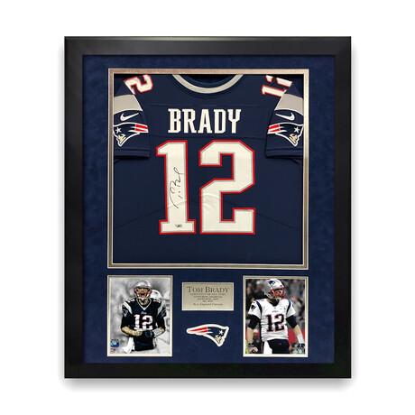 Tom Brady // New England Patriots // Signed Blue Jersey + Framed