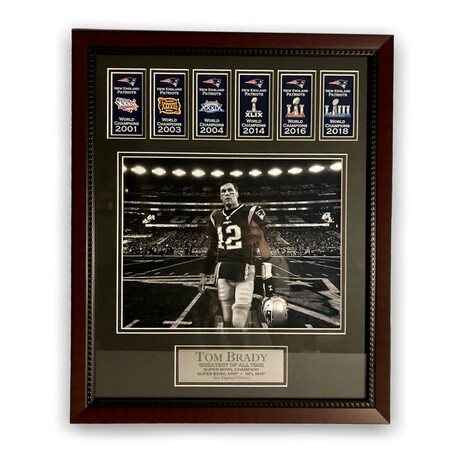 Tom Brady w/ Banners Ver. 1 // New England Patriots // Framed + Unsigned Photograph