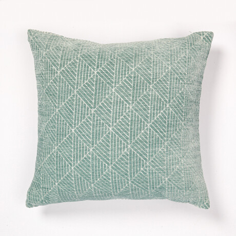 "Logan Reversible Geometric Chenille Pillow // 18"" X 18"" (Spanish Villa)"