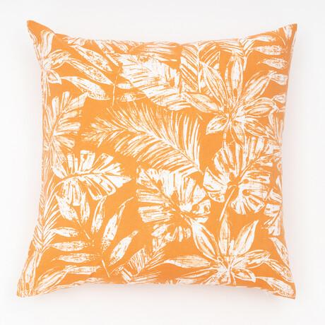 "Tamani Palm Outdoor Pillow // 18"" X 18"" (Black Beauty)"