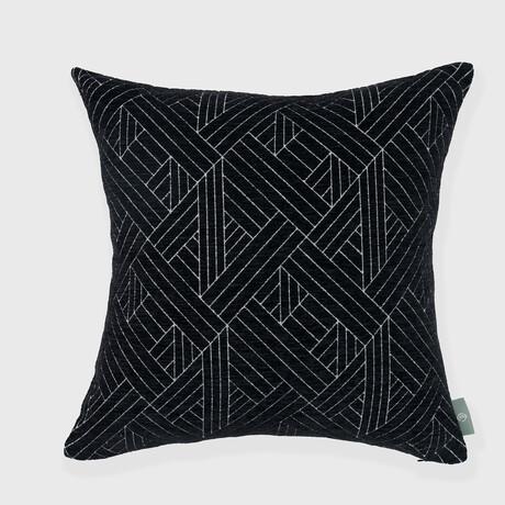 "Anke Woven Chenille Jacquard Geometric Pillow // 18"" X 18"" (Black Beauty)"