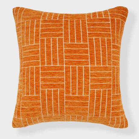 """Oberon Staggered Stripe Woven Chenille Pillow // 18"""" X 18"""" (Spanish Villa)"""