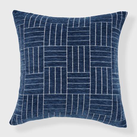 """Oberon Staggered Stripe Woven Chenille Pillow // 24"""" X 24"""" (Spanish Villa)"""