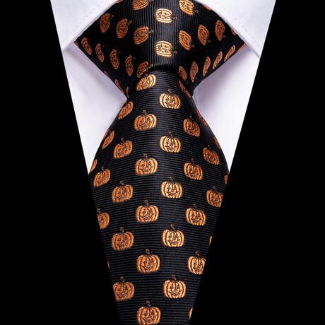 Jack Silk Tie // Black + Orange