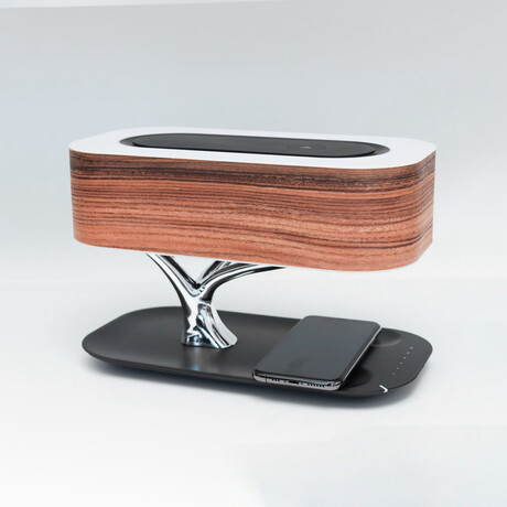 Tree of Life Lamp with Bluetooth Speaker + Wireless Charger (Cherry Wood)
