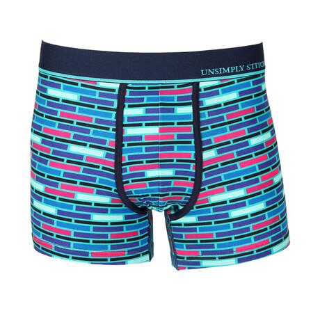 No Show Trunk Brick Stripe // Blue + Purple + Pink (S)