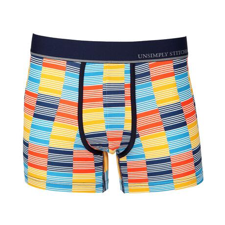 No Show Trunk Checkered Stripe // Yellow + Blue + Orange (S)