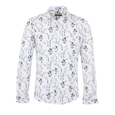 Niko Long Sleeve Button Up Shirt // White + Dark Blue (S)