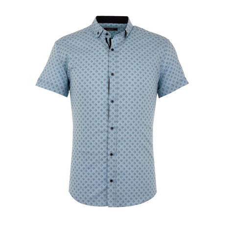 Luke Short Sleeve Button Up Shirt // Turquoise (S)