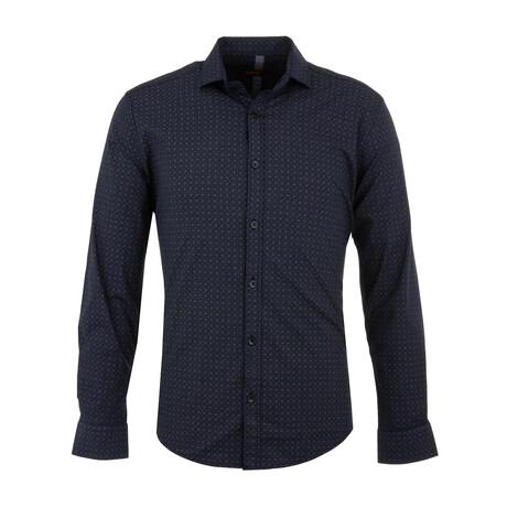Leo Long Sleeve Button Up Shirt // Dark Blue (S)