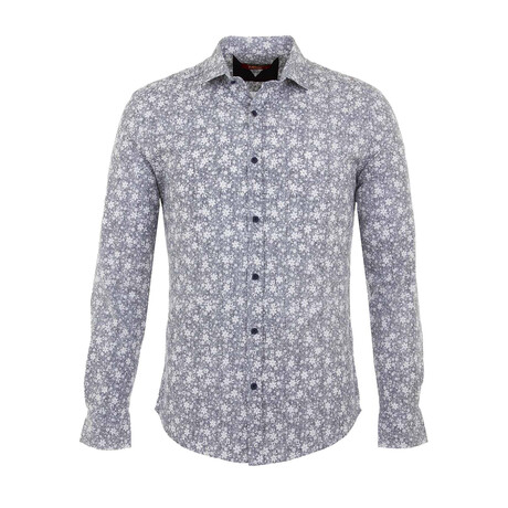 Jonah Long Sleeve Button Up Shirt // Blue (S)