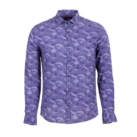 Zack Long Sleeve Button Up Shirt // Dark Blue (S)