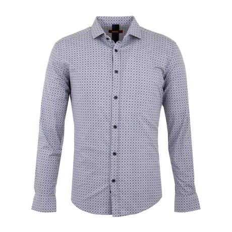 Landon Long Sleeve Button Up Shirt // White + Dark Blue (S)