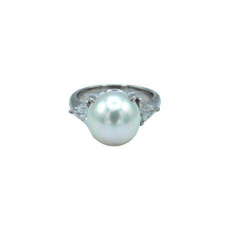 Platinum Diamond + Pearl Ring // Ring Size: 5.75 // Pre-Owned