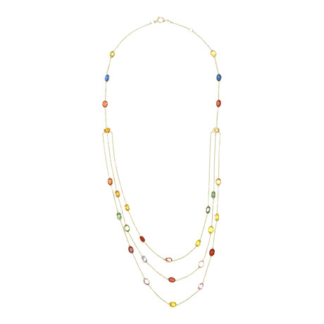 """18k Yellow Gold Sapphire Three-Line Oval Necklace // 18"""" // Pre-Owned"""