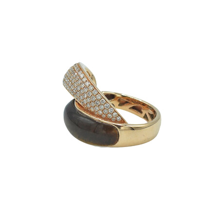 18k Rose Gold Diamond + Tigers Eye Ring // Ring Size: 7.5 // Pre-Owned