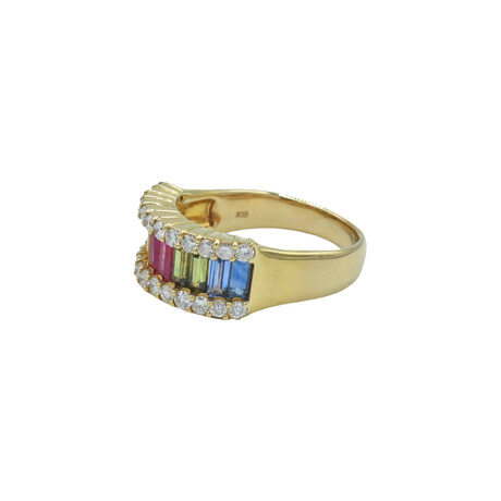 18k Yellow Gold Diamond + Sapphire Ring // Ring Size: 8 // Pre-Owned