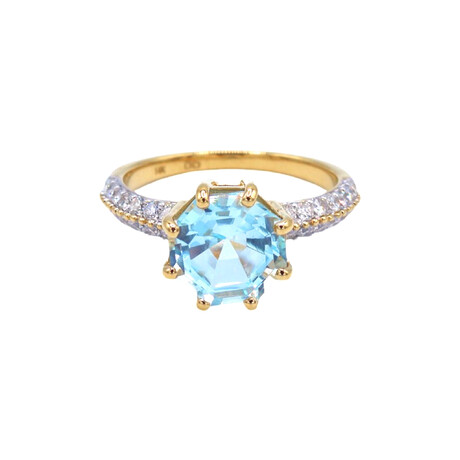 14k Yellow Gold Diamond + Blue Topaz Octagonal Ring // Ring Size: 6.75 // Pre-Owned