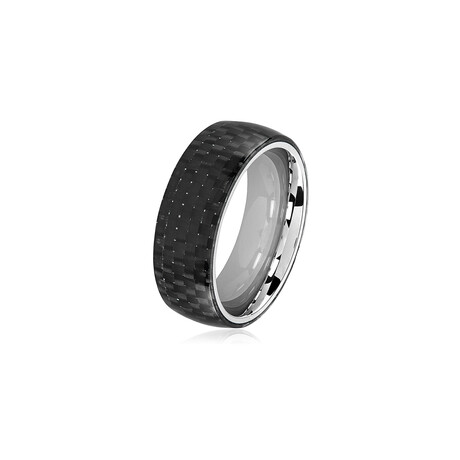 Carbon Fiber Stainless Steel Domed Ring // 8mm // Black + Silver (Size 8)