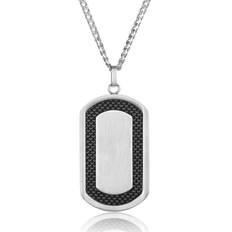 Carbon Fiber Inlay Brushed Stainelss Steel Dog Tag // Black + Silver