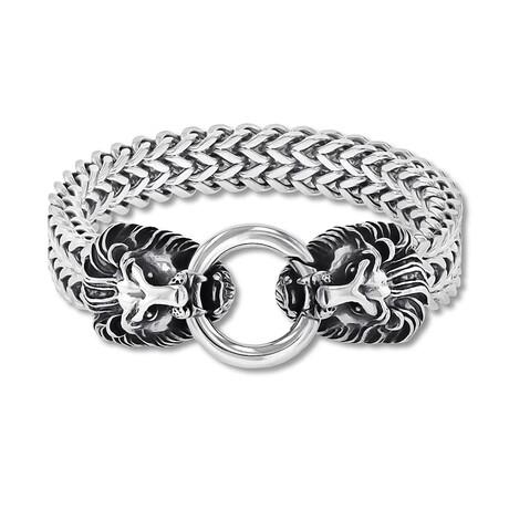 Lion Heads Double Strand Franco Chain Bracelet // Silver