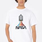 NASA Rainbow Rocket Tee // White (Small)