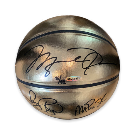 Michael Jordan, Larry Bird & Magic Johnson // Signed Gold Molten Basketball // Limited Edition 76/92