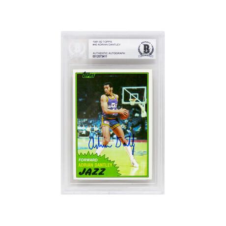 Adrian Dantley // Signed Utah Jazz 1981-82 Topps Basketball Trading Card #40 (Beckett Encapsulated)