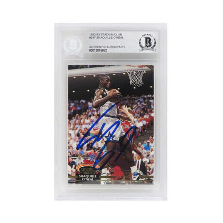 Shaquille O'Neal Signed Orlando Magic 1992-93 Topps Stadium Club Rookie Card #247 (Beckett Encapsulated)