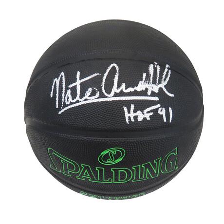 Nate 'Tiny' Archibald Signed Spalding Phantom Black With Green Lettering NBA Basketball w/HOF'91