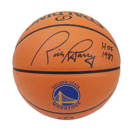 Rick Barry Signed Spalding Golden State Warriors Logo Game Series Replica NBA Basketball w/HOF 1987