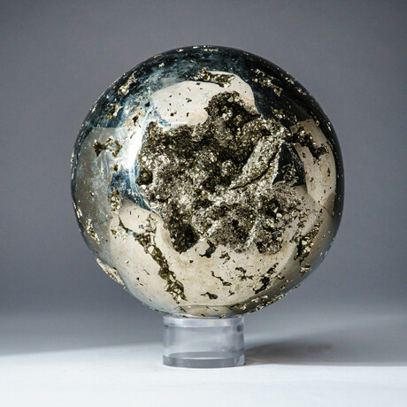 Genuine Polished Pyrite Sphere with Acrylic Display Stand