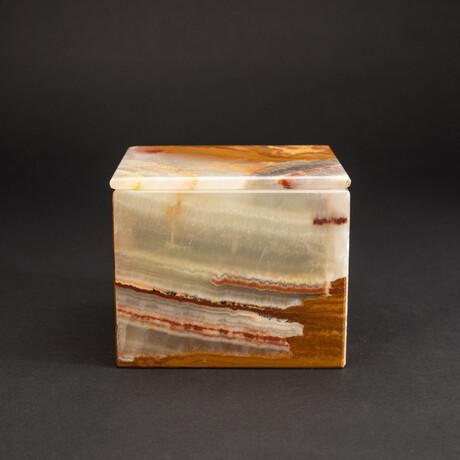 Genuine Square Rainbow Prism Onyx Jewelry Box