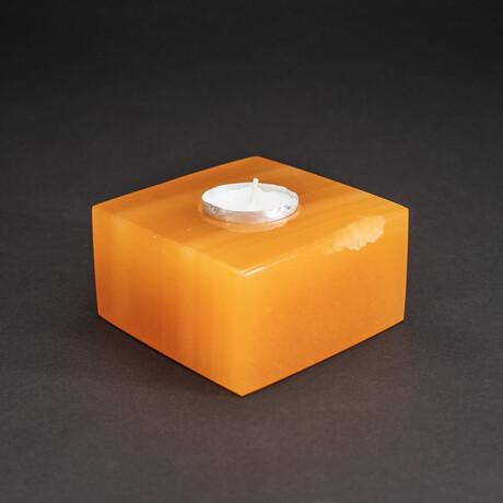 Genuine Polished Banded Orange Onyx Candle Holder