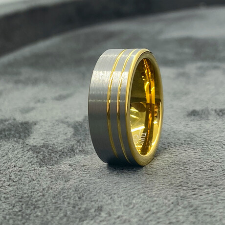 Tungsten Carbide Double Thin Groove Line Brushed Band Ring // 8mm // Gold + Silver (Size 8)