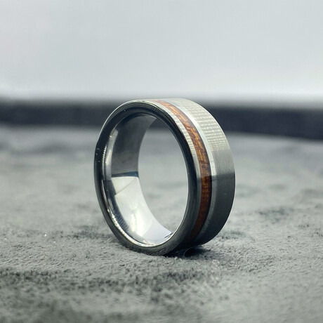 Tungsten Carbide Thin Line Brushed + Polished Ring // 8mm // Wood Inlaid (Size 8)
