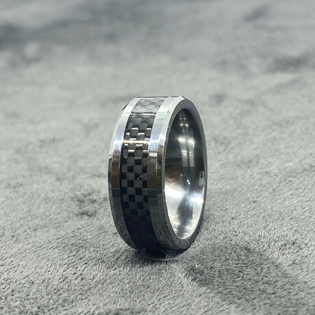 Tungsten Carbide + Carbon Fiber Inlaid Polished Ring // 8mm // Black (Size 8)