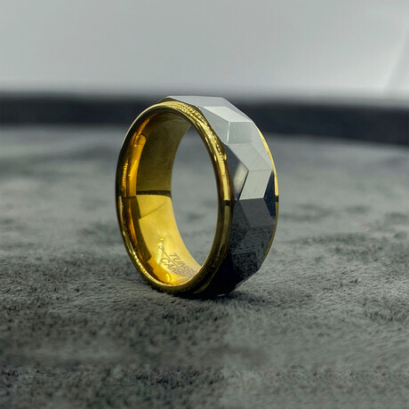 Tungsten Carbide Facet Cut Gold Step Edge Polished Ring // 8mm // Gold + Silver (Size 8)