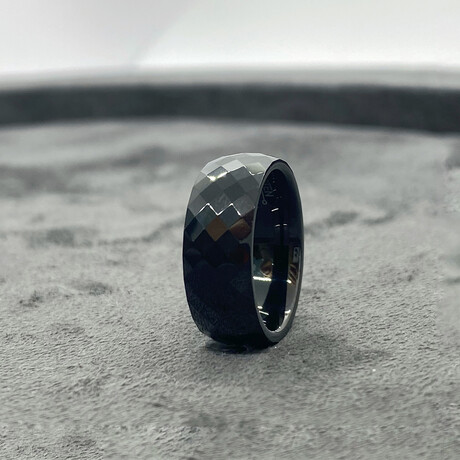 Tungsten Carbide Faceted Dome Polished Ring // 8mm // Black (Size 8)