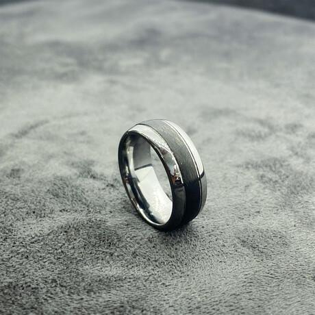 Tungsten Carbide + Carbon Fiber Polished Band Ring // 8mm // Black (Size 8)