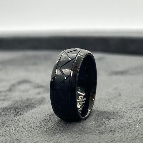 Tungsten Carbide Groove Design Ring // 8mm // Matte Finish (Size 8)