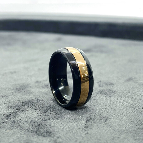 Tungsten Carbide Polished Dome Ring // 8mm // Black + Rose Gold (Size 8)