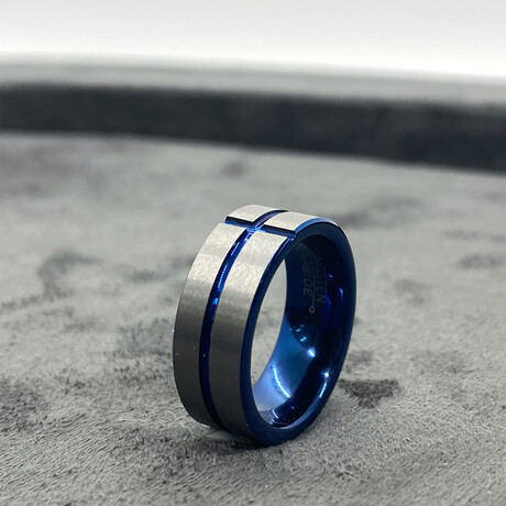 Tungsten Carbide Brushed Ring // 8mm // Teal Blue Line (Size 8)
