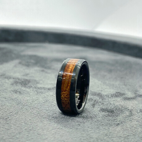 Tungsten Carbide + Wood Inlaid Edges Polished Ring // 8mm // Black (Size 8)