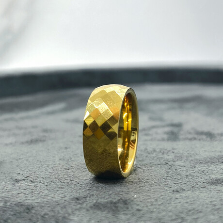 Tungsten Carbide Faceted Dome Polished Ring // 8mm // Gold (Size 8)