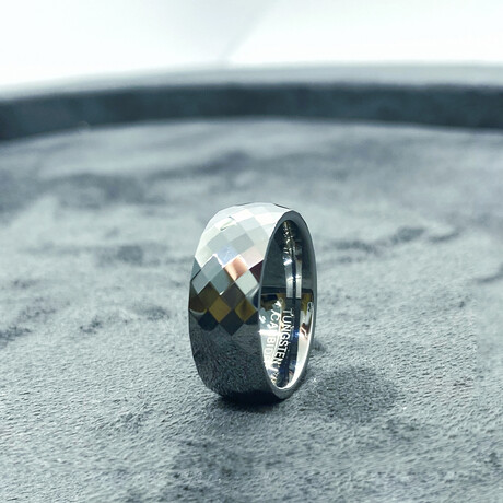 Tungsten Carbide Faceted Dome Polished Ring // 8mm // Silver (Size 8)