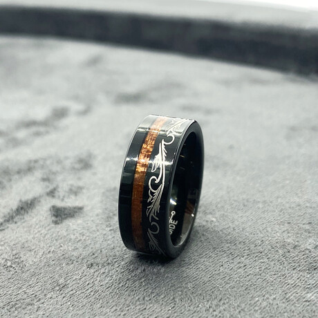Tungsten Carbide + Black Wood Inlaid Polished Motif Ring // 8mm // Silver (Size 8)