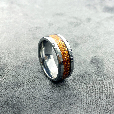 Tungsten Carbide Unique Line Inlaid Polished Ring // 8mm // Orange (Size 8)