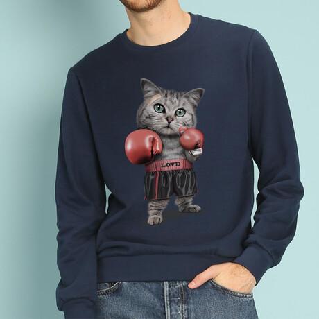 Boxing Cat Sweatshirt // Navy (S)