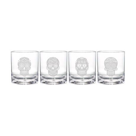 Luigi Bormioli Classico Rocks Glasses // Set of 4 // Dia De Los Muertos Sugar Skulls